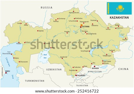 kazakhstan map with flag - stock vector
