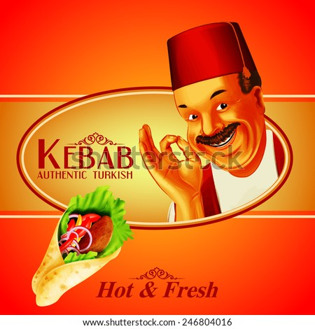 kebab hot & fresh - stock vector