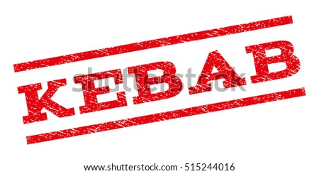 Kebab watermark stamp. Text caption between parallel lines with grunge design style. Rubber seal stamp with scratched texture. Vector red color ink imprint on a white background.