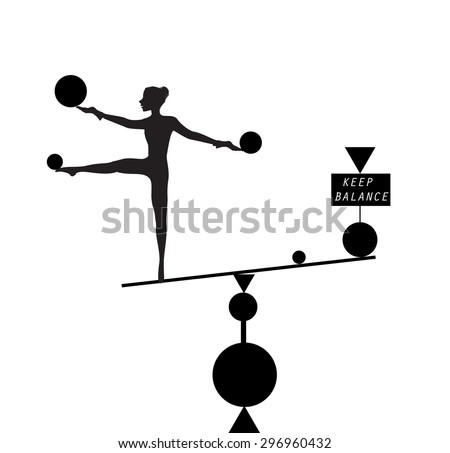 Keep balance, slim girl on balance scale with inscription keep balance, black and white, trick, in the circus, white background, shadows - stock vector