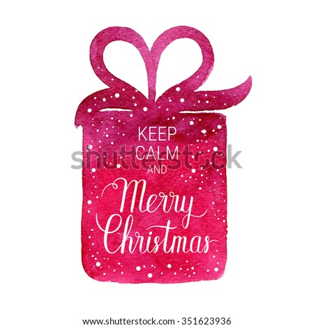 Keep calm and Merry Christmas poster. Vector winter holidays backgrounds with hand lettering calligraphic, gift, falling snow. - stock vector