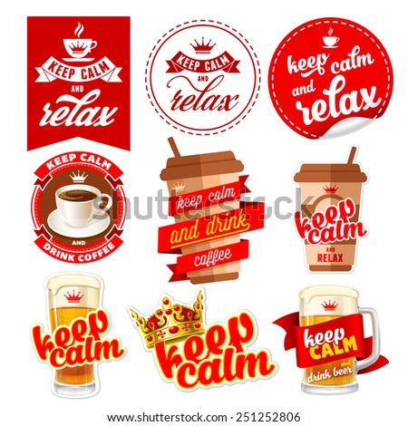 Keep calm icons set with coffee, beer and relax. - stock vector