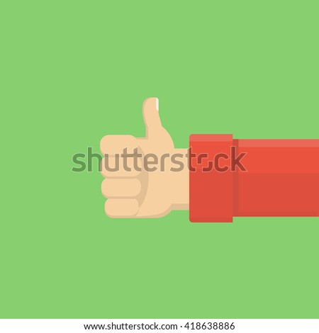 Keeps finger up like hand icon. Vector illustration.