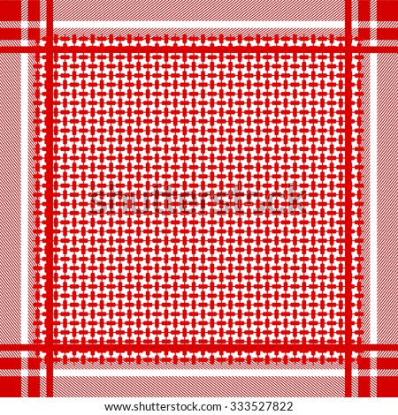 Keffiyeh vector seamless pattern. Traditional Middle Eastern man headdress. Shemagh military textile collection. Red and white. Backgrounds & textures shop.  - stock vector