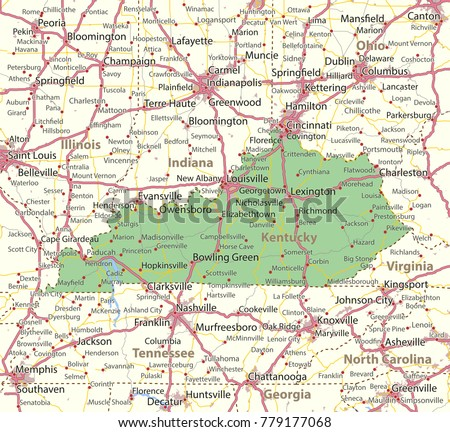 Kentucky Map Shows State Borders Urban Stock Vector - United states map with cities and highways