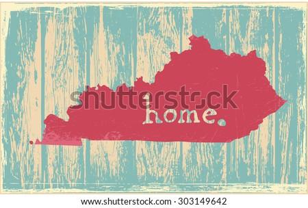Kentucky nostalgic rustic vintage state vector sign - stock vector