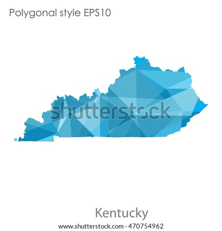 Kentucky state map in geometric polygonal style.Abstract gems triangle,modern design background. Vector illustration EPS10