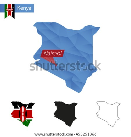 Kenya blue Low Poly map with capital Nairobi, versions with flag, black and outline. Vector Illustration. - stock vector
