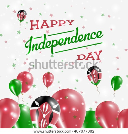 Kenya Independence Day Patriotic Design. Balloons in National Colors of the Country. Happy Independence Day Vector Greeting Card.