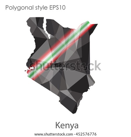 Kenya map in geometric polygonal style.Abstract gems triangle,modern design background.Vector illustration EPS10