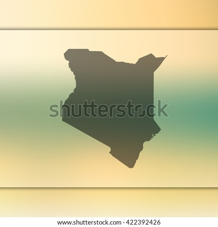 Kenya map on blurred background. - stock vector