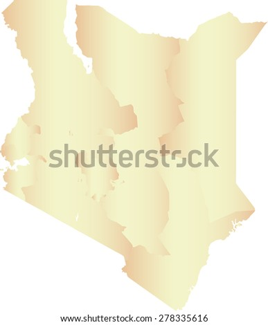 Kenya map outlines with boundaries or polygons of provinces or states or counties, vector map of Kenya in contrasted light color - stock vector