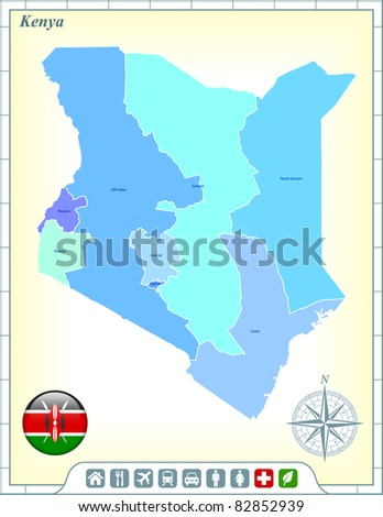 Kenya Map with Flag Buttons and Assistance & Activates Icons Original Illustration - stock vector