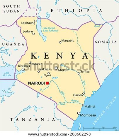Kenya political map political map kenya stock vector 208602298 kenya political map political map of kenya with capital nairobi national borders most gumiabroncs Images