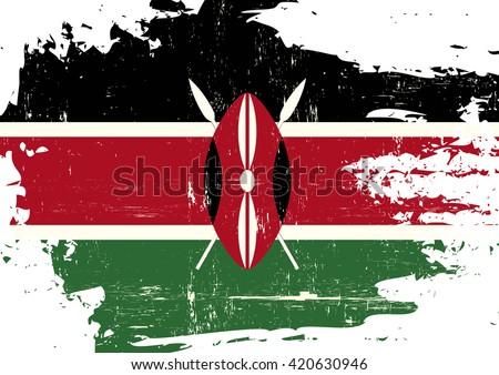 Kenya scratched Flag. A Kenyan flag with a grunge texture - stock vector
