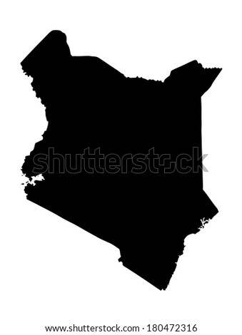 Kenya vector map high detailed illustration, isolated on white background. - stock vector
