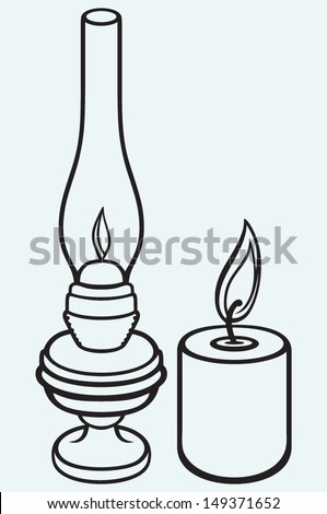 Kerosene lamp and candle isolated on blue background - stock vector