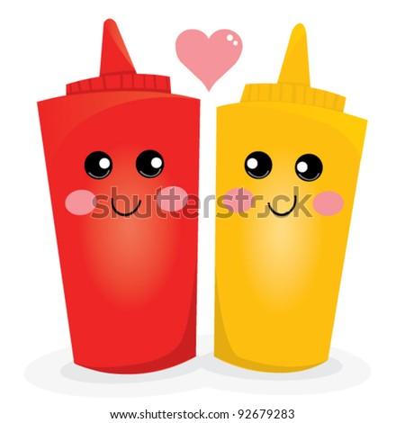 Ketchup and Mustard Illustration - stock vector