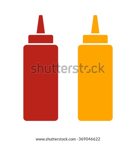 Ketchup and mustard squeeze bottle flat color icon for food apps and websites
