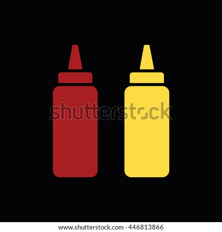 Ketchup and mustard squeeze bottle vector icon illustration. Black background