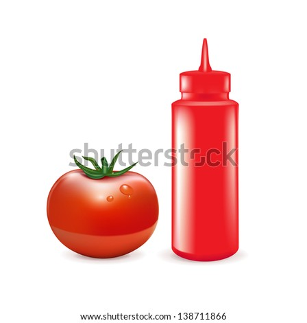 ketchup bottle and tomato isolated