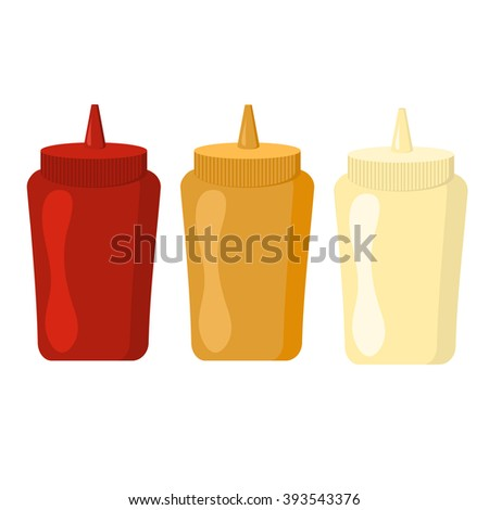 Ketchup mustard and mayonnaise bottles with spicy delicious sauce vector. Bottles and spilled sauces of tomato ketchup, mustard and mayonnaise ingredient. Ketchup mustard and mayonnaise spicy bottle. - stock vector