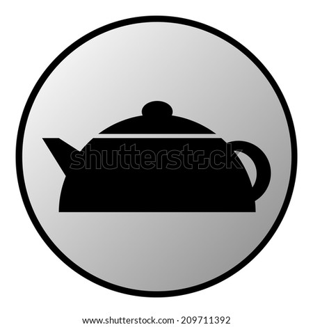 Kettle button on white background. Vector illustration. - stock vector