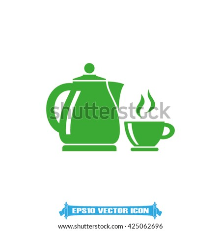 kettle cup icon vector - stock vector