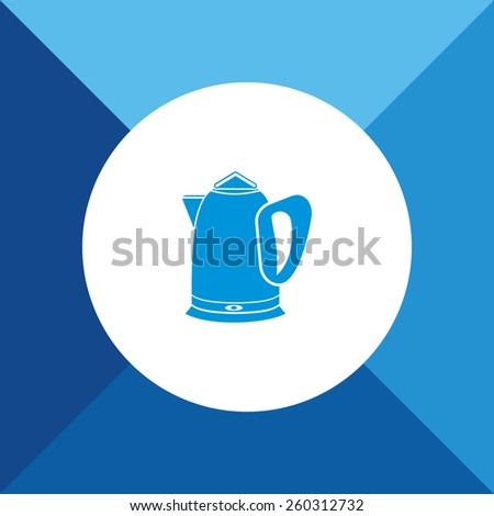 Kettle Icon on Blue Background. Eps-10. - stock vector