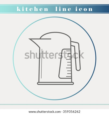 Kettle outline thin line icon.Household appliance, kitchen and restaurant accessories, equipment, cooking utensil, cutlery tools, kitchenware and cookware for food preparation. Flat design. - stock vector
