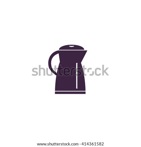 Kettle Simple flat blue vector icon on white background
