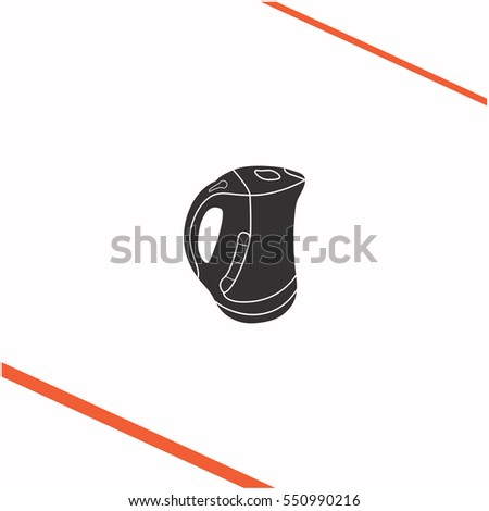 Kettle vector grey icon on white background. Kettle symbol stock   illustration. Business picture.