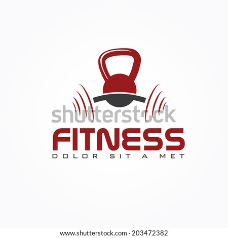 kettlebell and barbell vector design template - stock vector