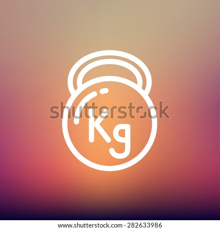 Kettlebell icon thin line for web and mobile, modern minimalistic flat design. Vector white icon on gradient mesh background. - stock vector