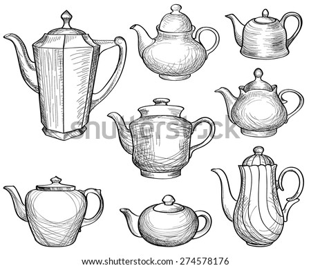 Kettles set. Teapots silhouette collection. Coffee pot isolated. Tea time design elements. - stock vector