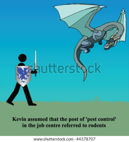 Kevin assumed pest control referred to rodents - stock vector
