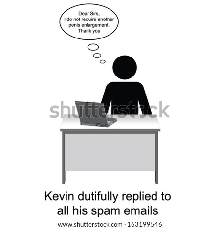 Kevin replied to his spam emails cartoon isolated on white background  - stock vector