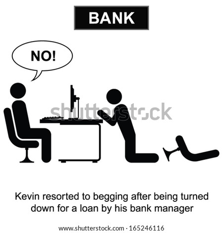 Kevin resorted to begging for a loan cartoon isolated on white background  - stock vector