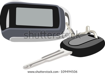 Key and alarm system of the automobile isolated - stock vector