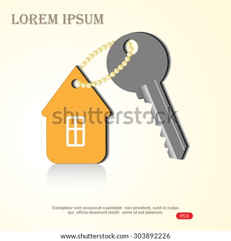 key and home, vector illustration - stock vector