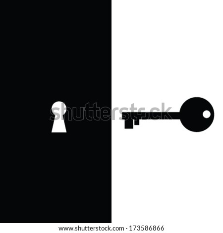 key and keyhole vector illustration - stock vector