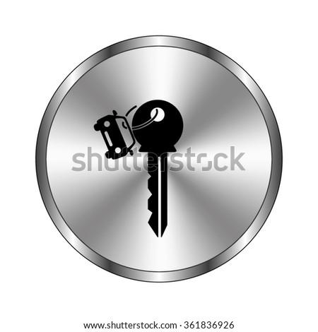 Key car - vector icon;  metal button - stock vector