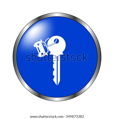 Key car - vector icon on the blue button - stock vector