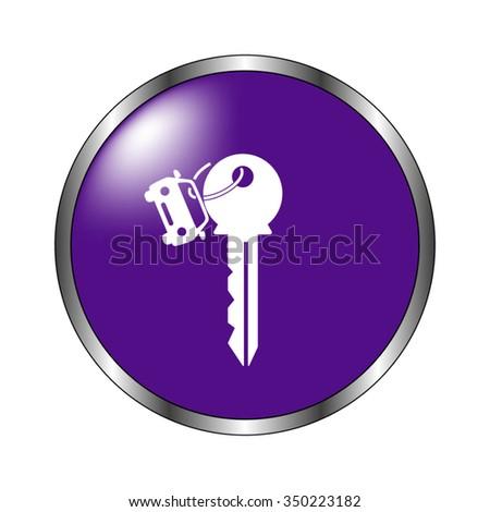 Key car - vector icon; violet button - stock vector