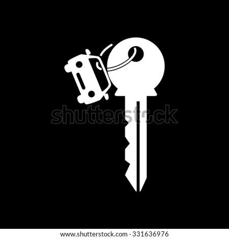 Key car - white vector icon - stock vector