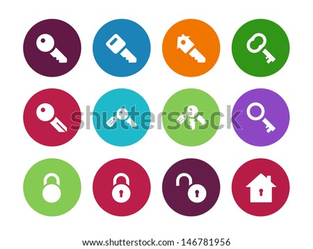 Key circle icons on white background. Vector illustration. - stock vector