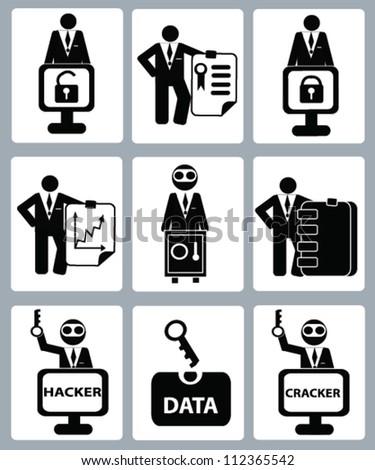 Key,hacker concept,Human resource concept,icon set,Vector - stock vector