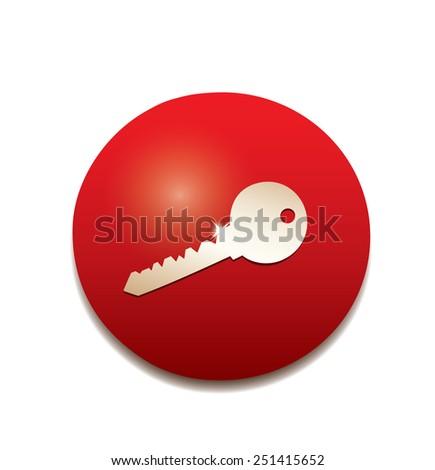 Key icon button. - stock vector