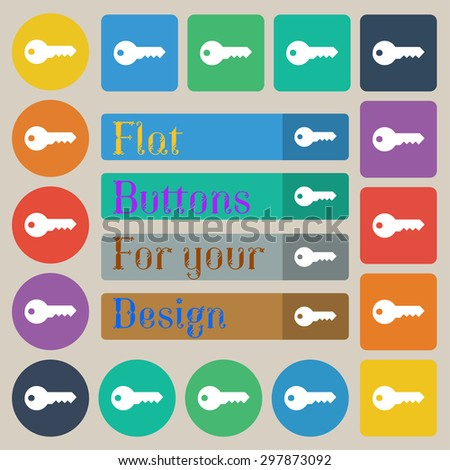 key icon sign. Set of twenty colored flat, round, square and rectangular buttons. Vector illustration - stock vector