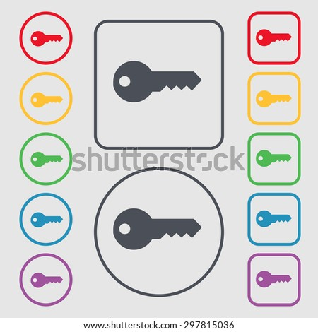 key icon sign. symbol on the Round and square buttons with frame. Vector illustration - stock vector
